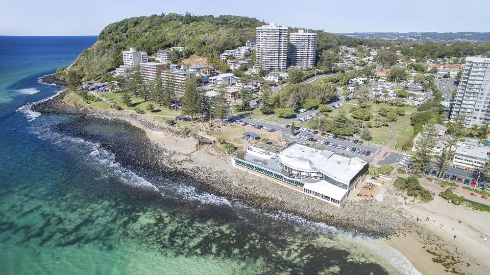 Burleigh Hill, with the Burleigh National Park to the left. With north-facing views and great access to the Burleigh cafe and bar precinct, this is one of the most sought-after locations on the Gold Coast.