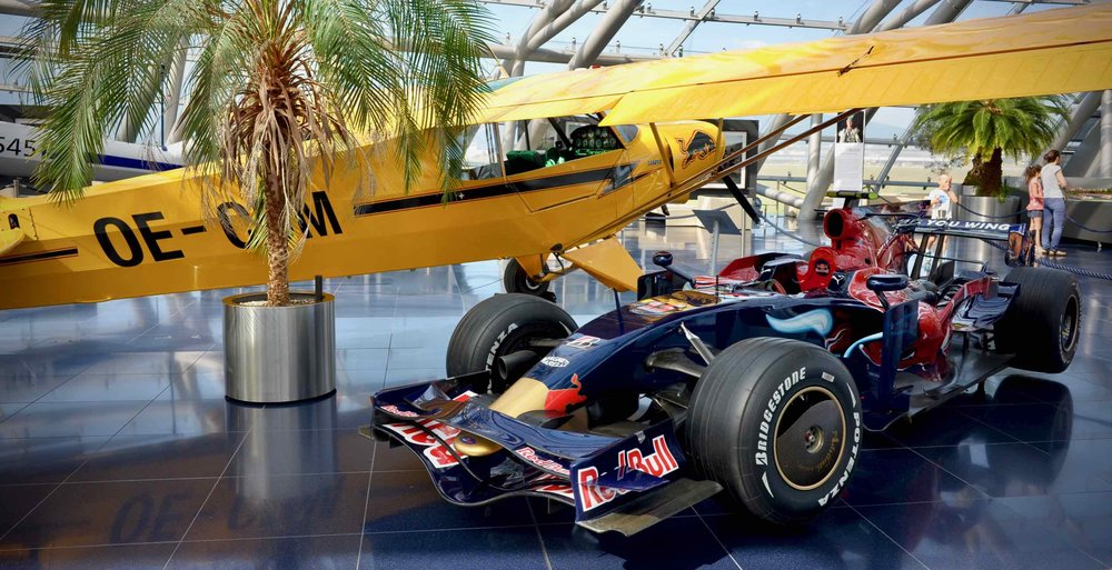 Just another casual scene with a palm tree and F1 car