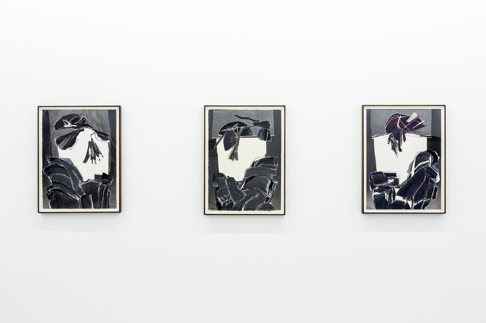 View of three of Deborah Remington's works on paper composed of black and grey forms that abstractly resemble portraits of traditional Japanese women.