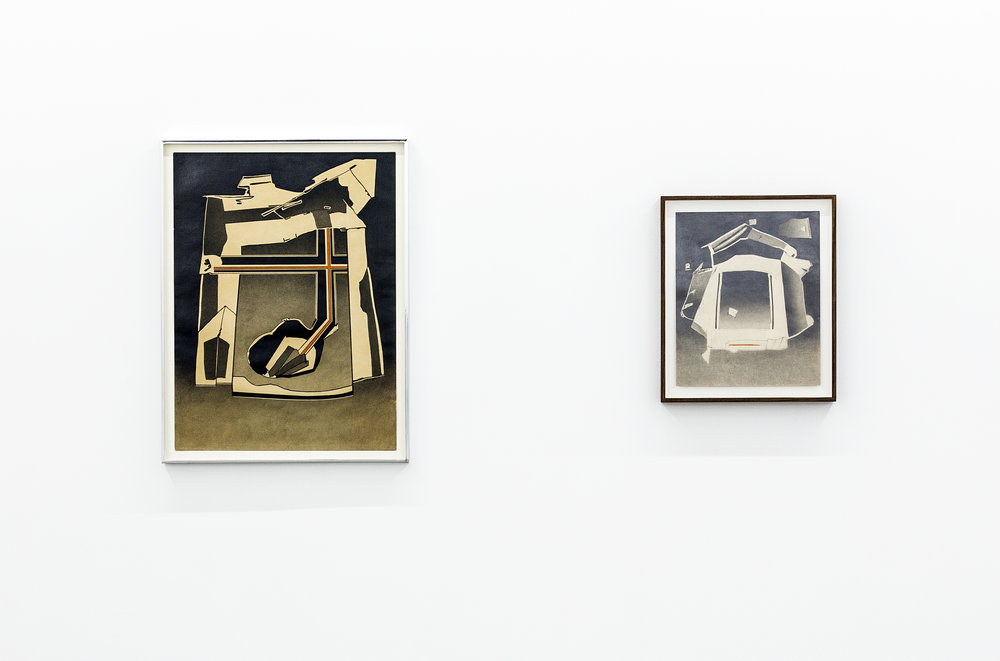 Installation view of two of Deborah Remington's works on paper depicting abstract angular shapes of different sizes floating on dark tonal backgrounds.