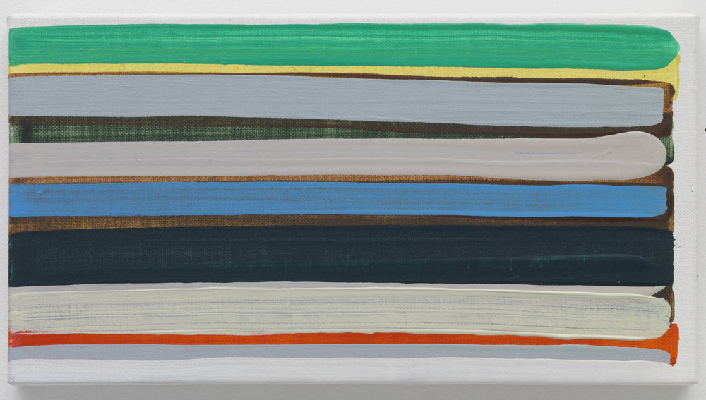 Yui Yaegashi's striped paintings of vibrant and dull hues stacked on top one another