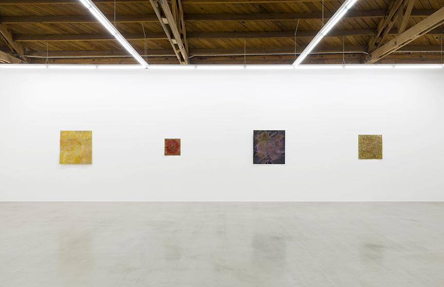 Installation view of Billy Al Bengston's Dentos series