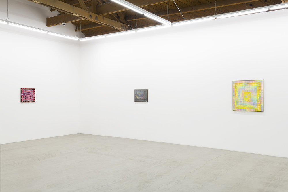 Installation view of three of Xylor Jane's mesmerizing precise works