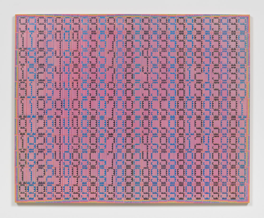 XYLOR JANE  Nines (Twenty-six 11 digit prime palindromes arranged in columns selected from a group of 42,100),  2017 oil and ink on board 24 x 30 inches