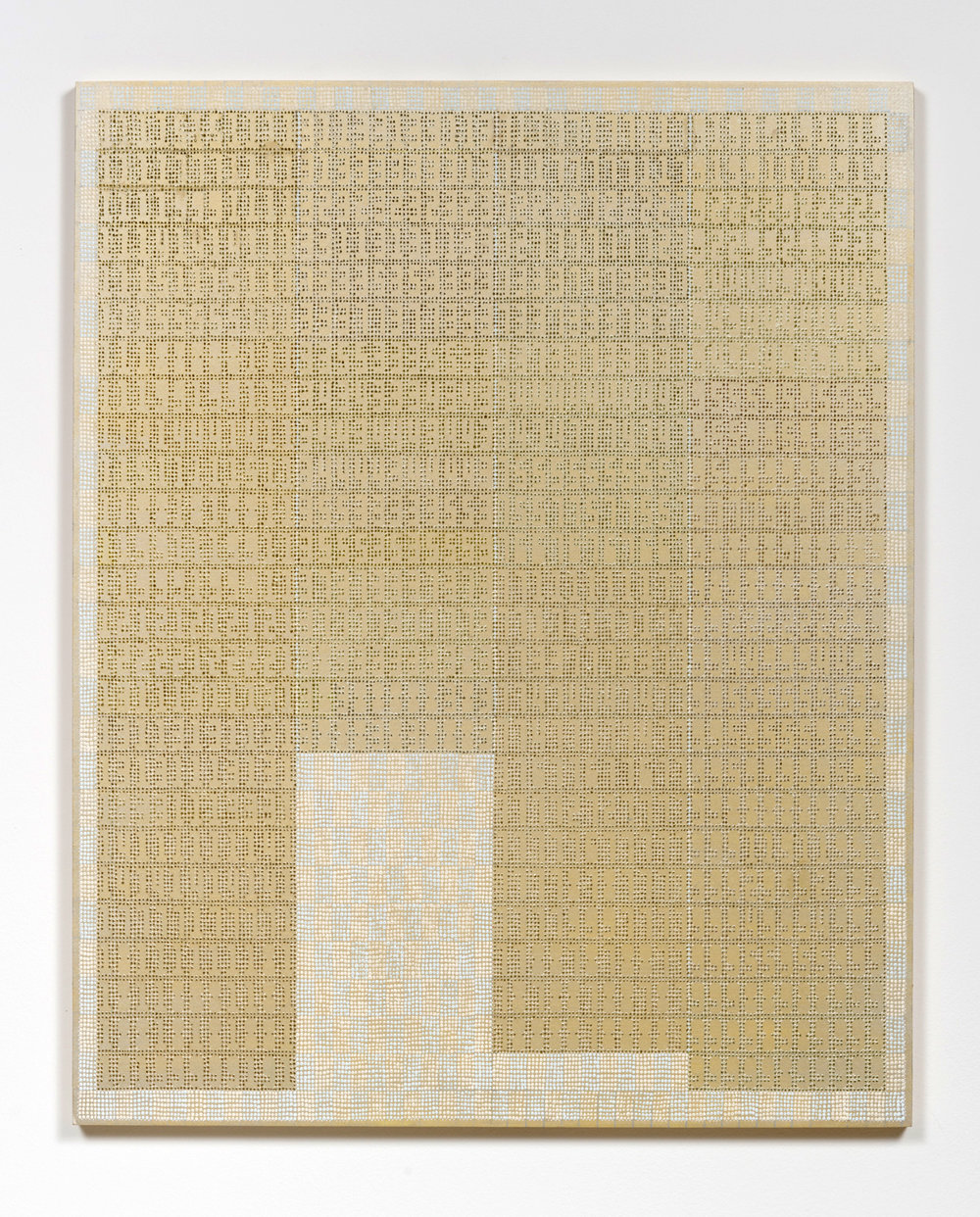 XYLOR JANE  Zahav (Ninety-four 11 digit prime palindromes arranged in four columns, selected from a group of 42,100),  2017 oil and ink on board 30 x 24 inches