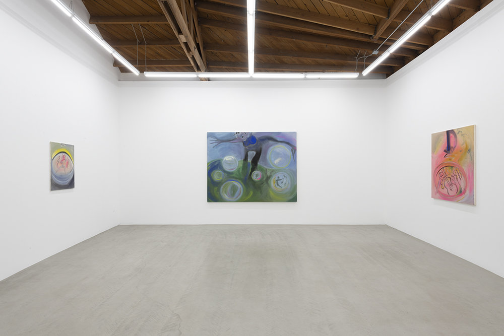 Installation view of three of Sophie von Hellermann's flowing paintings