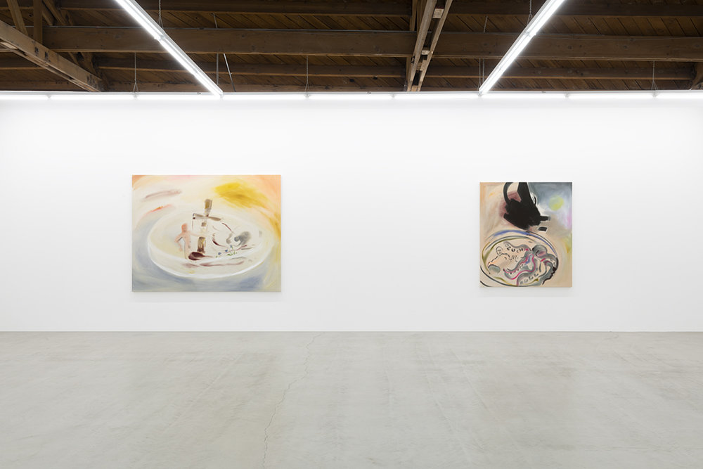 Installation view of two of Sophie von Hellermann's paintings, the first depicting a bleeding Christ, a cross and a mourner below, the second showing a kraken and a man in a petri dish