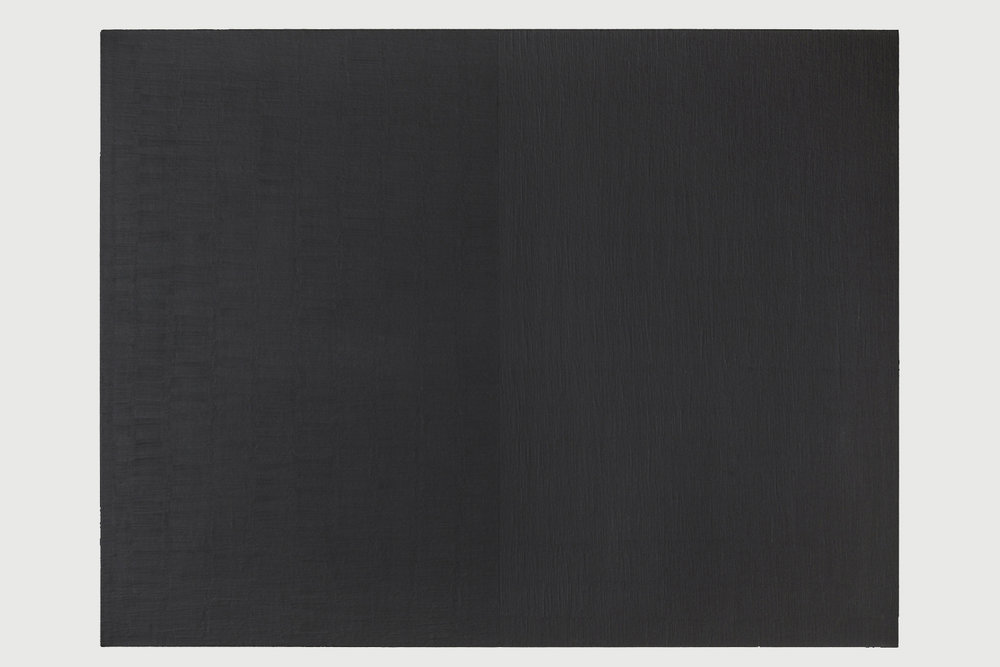 Edith Baumann's black monochrome painting with brush strokes on the left half moving horizontally and on the right half flowing vertically
