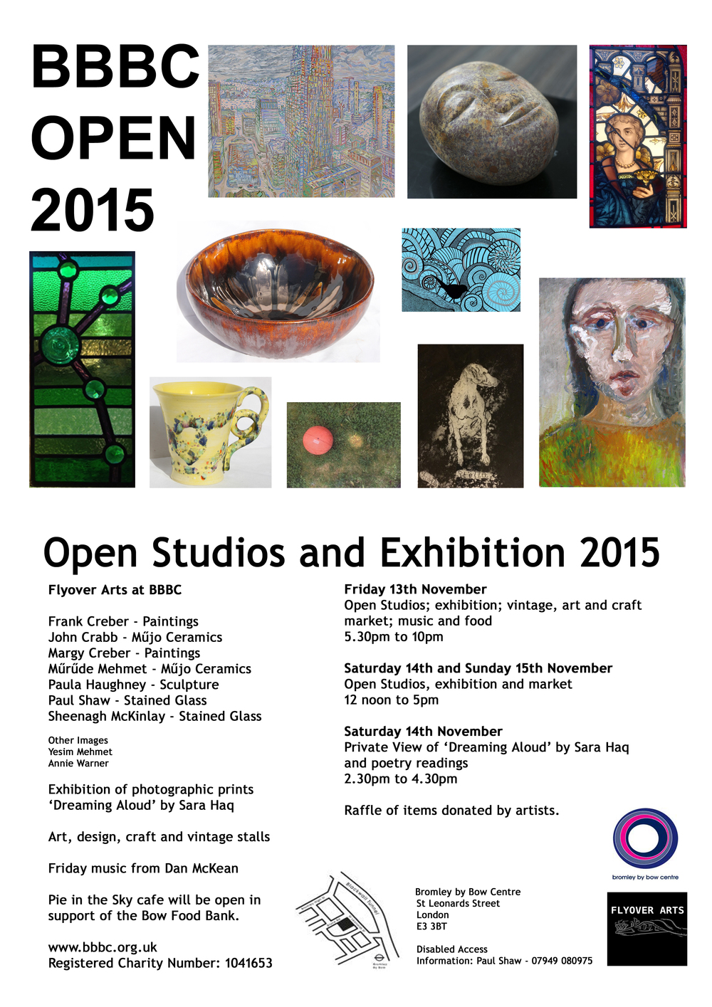 All welcome to our open studios at Bromley by Bow Centre