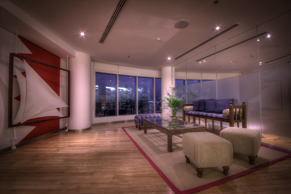 A Traditional Bahrain Inspired Waiting Area With Custom Made Sail As The Objet Dart Of Project IPI Offices At Financial Harbor