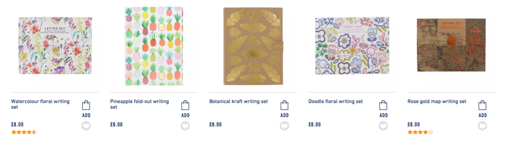 Screen grab taken from paperchase.com products are subject to change.