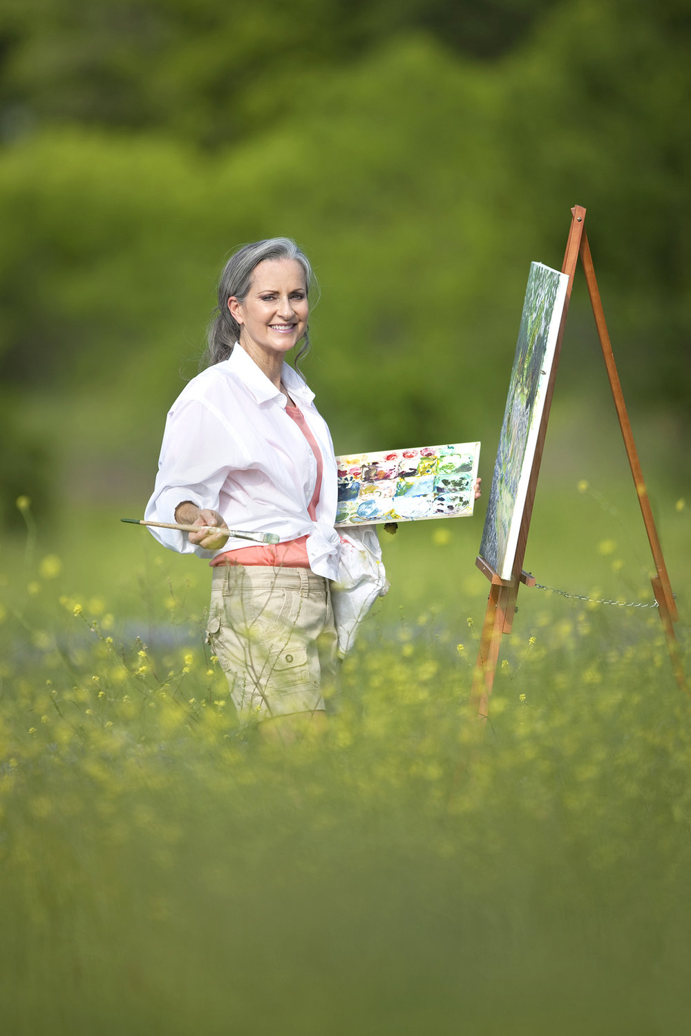 Environmental Portrait of a Woman in Wildflower Garden Painting