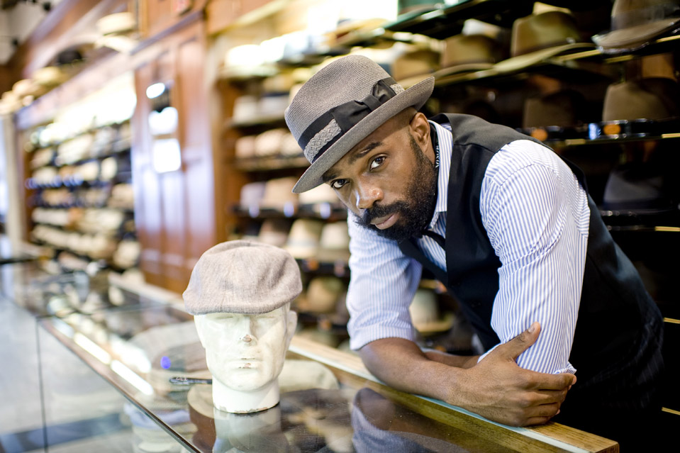 July 20, 2011:  JJ Hats, where salesmen wear fine hats, located at  310 Fifth Avenue in New York, NY. The store manager is Marc Williamson (pictured). Photo by Rob Bennett for The Wall Street Journal Slug: NYGARD_HATS