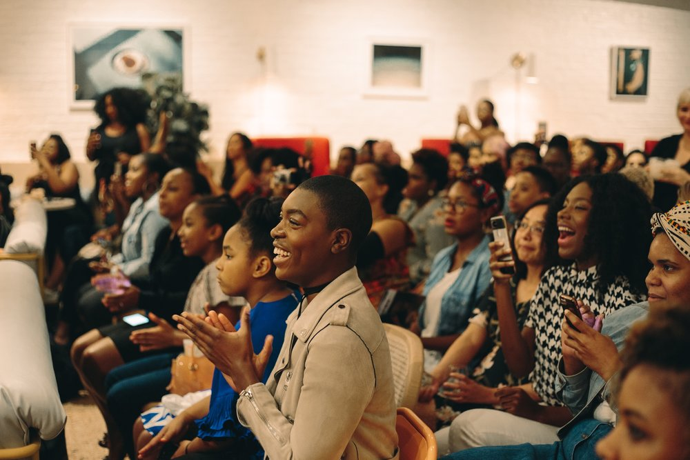 The audience at CRWN Presents: Nappily Ever After advanced screening at The Wing SoHo, September 17th.  Photography:  Goblin .