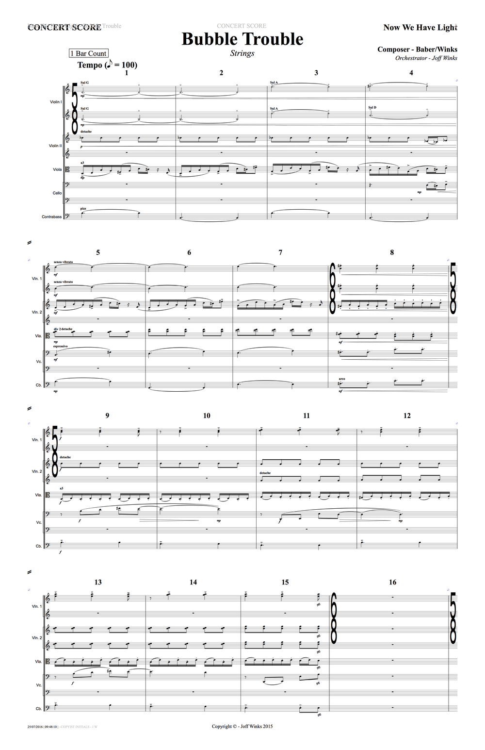 Sanguine Hum - 'Bubble Trouble' - string arrangement page 1