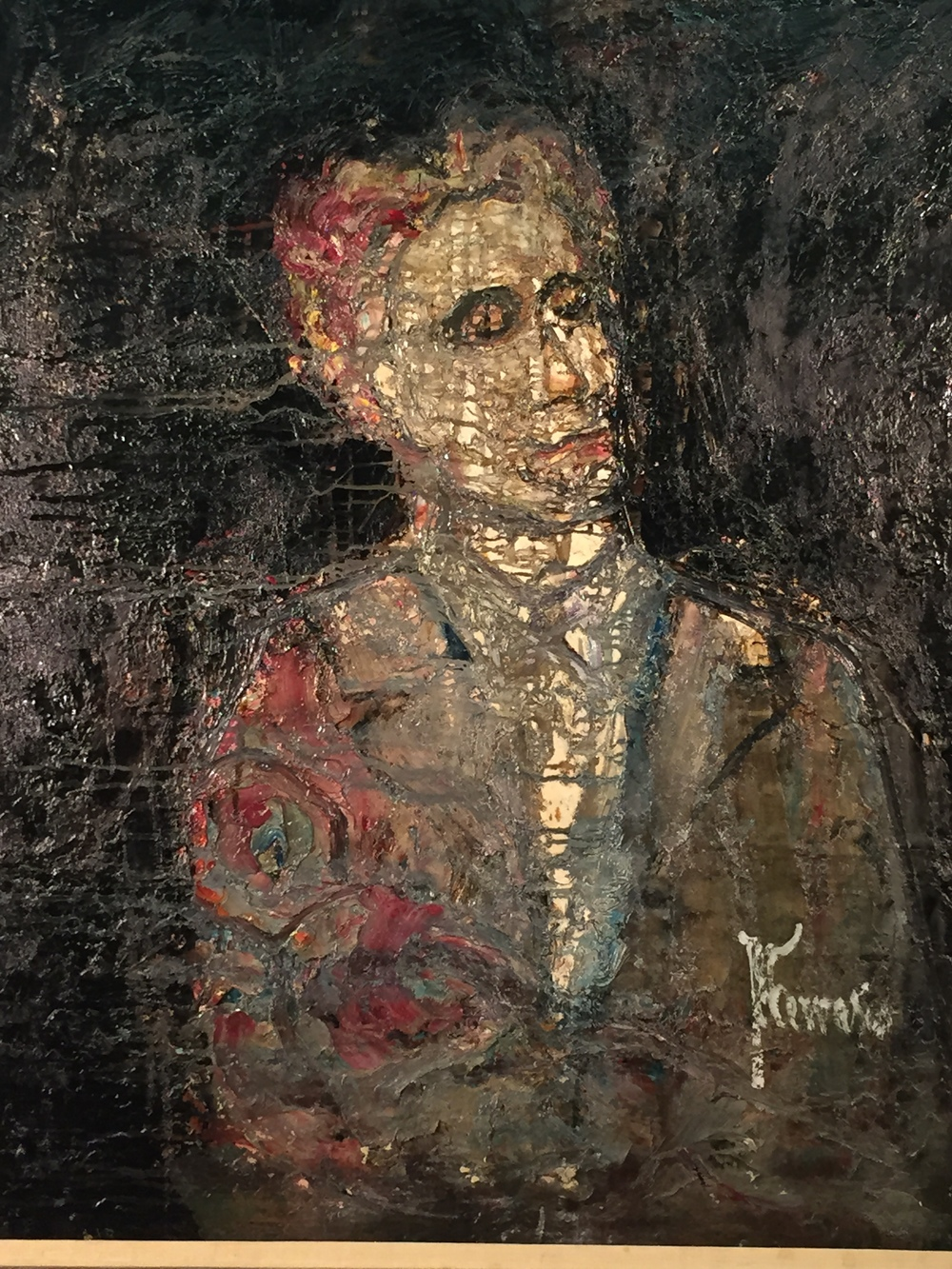"""Artist:  Active:  Title: Category: Painting Medium: Oil Ground: Masonite Signature: Signed Lower Right Size: 39.5 x 31.5 Style:  Subject:  Frame:  Frame Size Overall: 47 x 39.5 Seller's Notes/Description: On Reverse: """"El Ventivan, Buenos Aires Argentina, Alexandro Rey, Hollywood, CA"""" Price: Please Contact Dealer"""