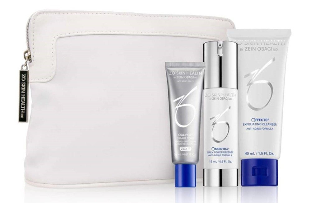 ZO Gift with $250 Purchase | $109 Value    Offects® Exfoliating Cleanser - 1.5 Fl. oz. | Ossential Daily Power Defense - 0.5 oz. | Oclipse® Smart Tone SPF 50 - 0.67 Fl. oz. | ZO® Cosmetic Bag