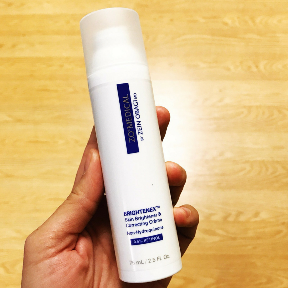 "Retinol Skin Brightener .5%:According to ZO®, this retinol, ""targets skin discoloration and breaks up existing pigmentation, brightens skin and helps even skin tone, helps prevent future damage, antioxidant protection and helps support the repair of the skin."" -"