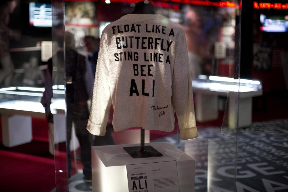 "A Muhammad Ali robe is displayed at the ""I Am The Greatest, Muhammad Ali"" exhibition at the O2 arena, which hosts high profile boxing fights in London, on June 4. (Matt Dunham/Associated Press)"