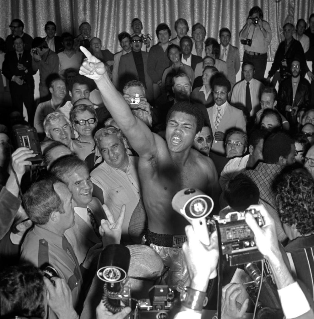 Muhammad Ali shouts during the weigh-in for his fight against Joe Bugner at Caesars Palace in Las Vegas, Nev., on Feb. 14, 1973. (Las Vegas News Bureau via EPA)