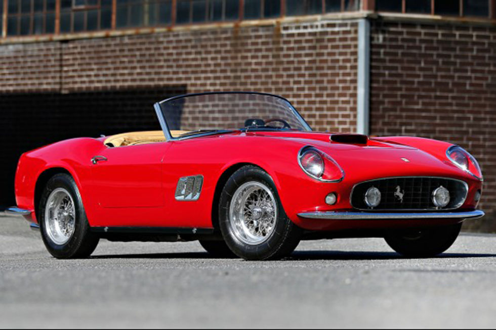 No. 8: 1961 Ferrari 250 GT California Spider Sold for: $15.2 million in 2014   There are so many variations to the lineage of the Ferrari 250 GT, and a collector pays dearly to own the exact one he wants. Of the 56 Scaglietti-built 250 GT's, only 37 had covered headlights, and this California Spider is among them. A bonus item most definitely included in the multi million-dollar price, is a rare and desirable hard top. You know, for when you want to take the weekend car and it starts to rain.