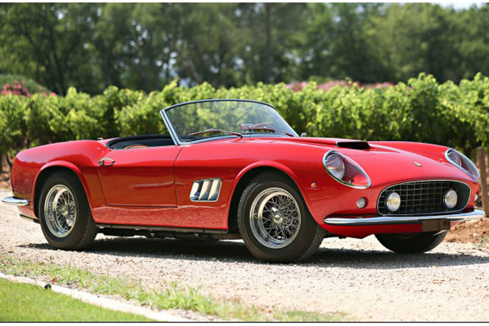 "No. 5: 1961 Ferrari 250 GT California Spider Sold for: $16.8 million in 2015   This Ferrari comes from an era when ""California"" evoked images of endless summer and drop-top weather: a dream for most of us. The lucky owner of the '61 250 GT California Spider is likely in a dream world of his own. Don't think of it as worth half as much as the 250 GT that sold for $38 million—envision this spectacular convertible as the smart-money investment."