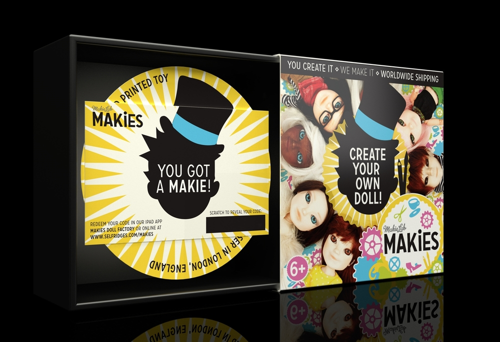 Makies packaging visual of box open.