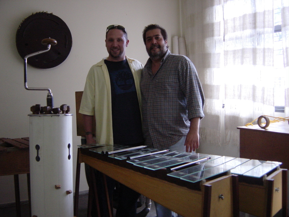 Randy and Decio Ramos from Uakti. Uakti studio, Belo Horizonte, Brazil, 2004
