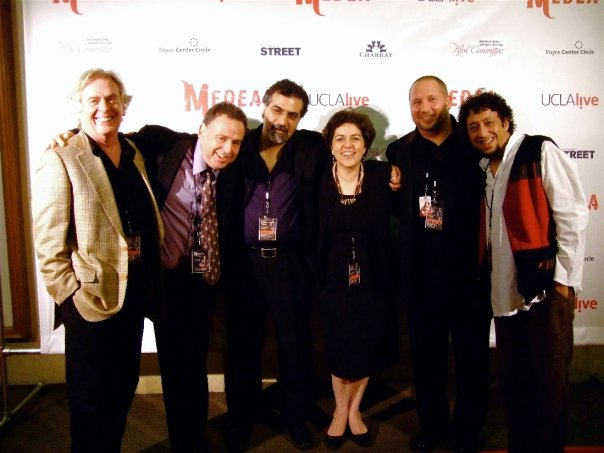 Medea after party opening night.  L-R: Daniel Davis, Menno Plukker, Houman Pourmehdi, Pirayeh Pourafar, Randy Gloss, Brahim Fribgane.
