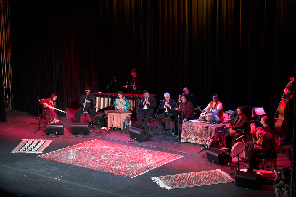 Lian Ensemble - Pangea Project at Wilshire Ebell Theatre March 19th, 2006: Swapan Chaudhuri, Djivan Gasparyan, Pedro Eustache, Miroslav Tadic, Pirayeh Pourafar, Mashid Mirzadeh, Bahram Bajelan, David Johnson, Randy Gloss, Ivan Johnson.