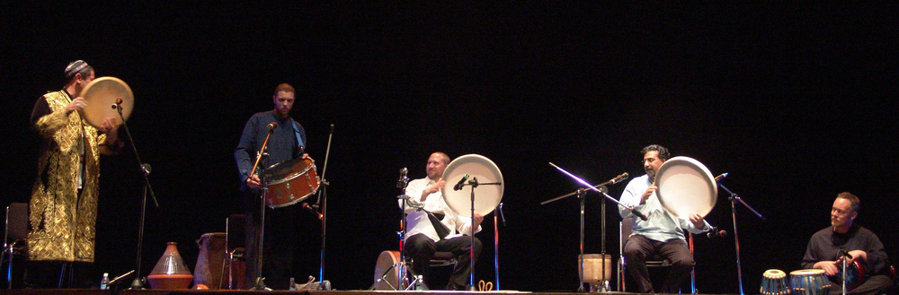 Hands On'Semble at the 2007 Taiwan International Drum Festival. L-R: Abbos Kosimov, Andrew Grueschow, Randy Gloss, Houman Pourmehdi, Austin Wrinkle. Tainan, Taiwan. February 2007