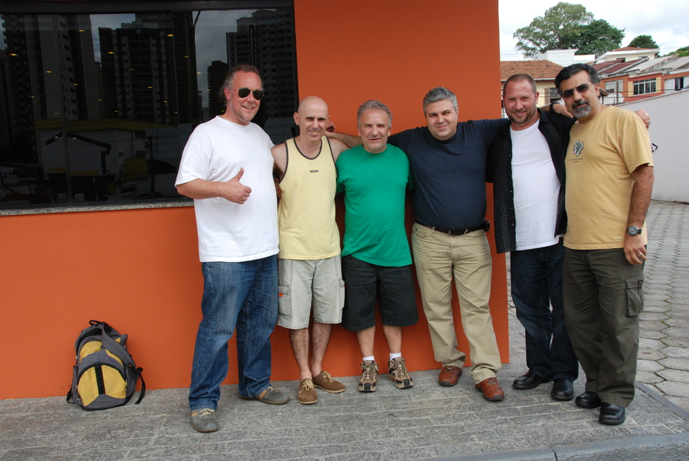 In Brazil with Hands On'Semble, November 2009.   L-R: Austin Wrinkle, Carlos Stasi and Guello, Roberto Guariglia (Contemporanea), Randy, Houman Pourmehdi.