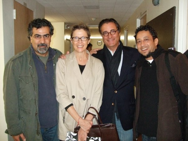 Backstage after Medea, October 2009.   L-R Houman Pourmehdi, Annette Bening, Andy Garcia, Brahim Fribgane.
