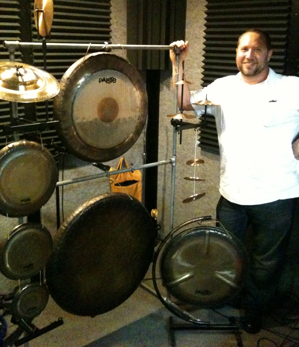 Randy Gloss recording for Daren Burns' Onibaba at Wayne Peet's studio.  Los Angeles California 2012