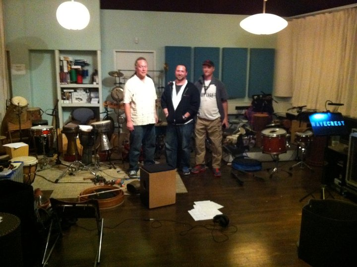 Hands On'Semble recording the percussion for Harry Gregson-Williams soundtrack for Cowboys and Aliens.  pictured: Austin Wrinkle, Randy Gloss, Brad Dutz.  Venice CA, 2011