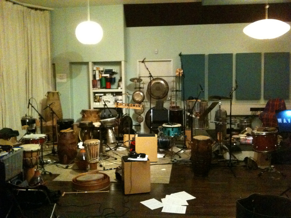 Hands On'Semble recording the percussion for Harry Gregson-Williams soundtrack for Cowboys and Aliens.  Venice CA, 2011.