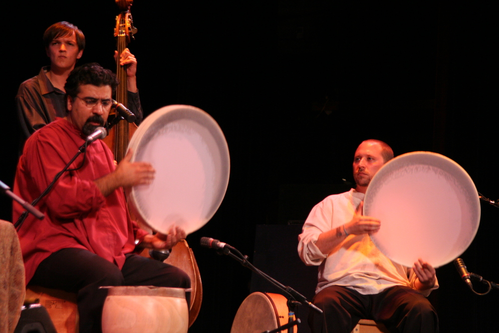 Lian Ensemble concert.  pictured L-R: Ivan Johnson, Houman Pourmehdi, Randy.  Los Angeles CA 2005.