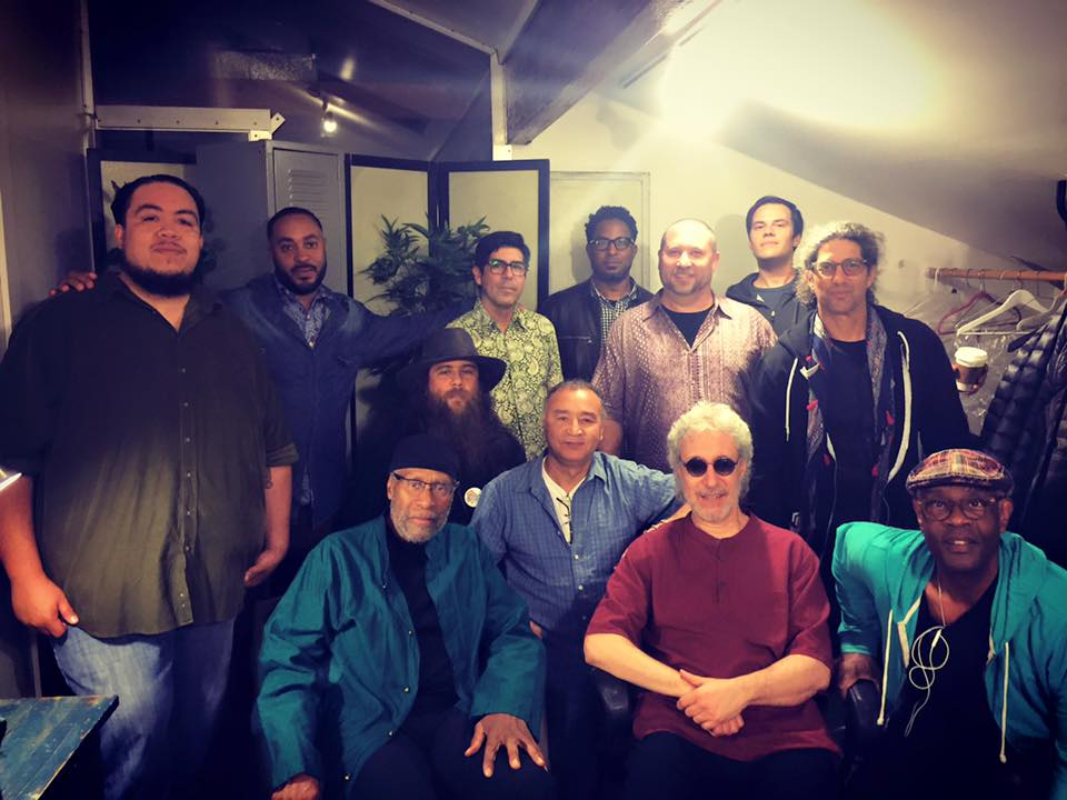 "Dressing room at the Electric Lodge before Go: Organic Orchestra concert.  April 2nd, 2016. Venice, CA.   L-R (standing): Edgar Meshlee Modesto, Allakoi ""Mic Holden"" Peete, Andres Renteria, Dexter Story, Randy Gloss, Jesse Peterson, Gustavo Bulgach.  L-R (seated): Bennie Maupin, Carlos Niño,  Noureddine El Warari, Adam Rudolph, Thomas Stones III."