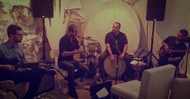 Izela  FRIDAY October 7th, 2016.    L-R: Max Kutner, Ryan Parrish, Randy Gloss, Rusty Kennedy.  part of La Bibliothèque Fantastique, Four Larks' late night festival of music and performance following THE TEMPTATION OF ST ANTONY in their secret downtown cavern, Basic Flowers (244 s broadway, dtla)