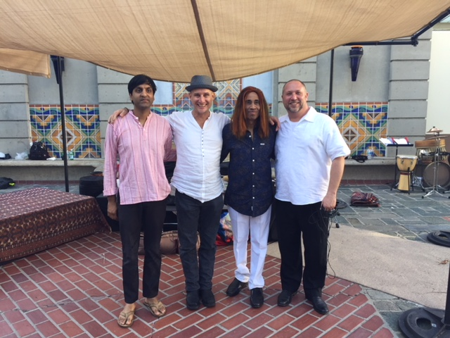 Shenkar at Union Station North Patio, Los Angeles CA. 4/22/18 (Earth Day)  L-R: Neel Agrawal, Jim Santi Owen, Shenkar, Randy Gloss.