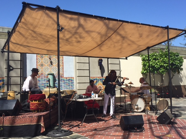 Shenkar at Union Station North Patio, Los Angeles CA. 4/22/18 (Earth Day)  L-R: Jim Santi Owen, Neel Agrawal, Shenkar, Randy Gloss.