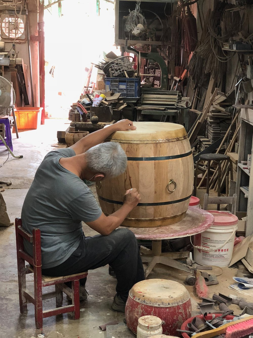 at the drum maker, Tainan Taiwan, August 2018.