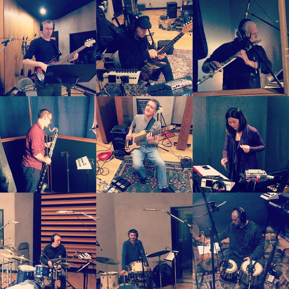 Daren Burns session at NRG Studios, Studio A, North Hollywood CA.  Friday February 15th, 2019.  L-R: Daren Burns. Woody Aplanalp, Viiny Golia, Brian Walsh, Stuart Liebig, Motoko Honda, Craig Bunch, Trevor Roitstein-Anderies, Randy Gloss.