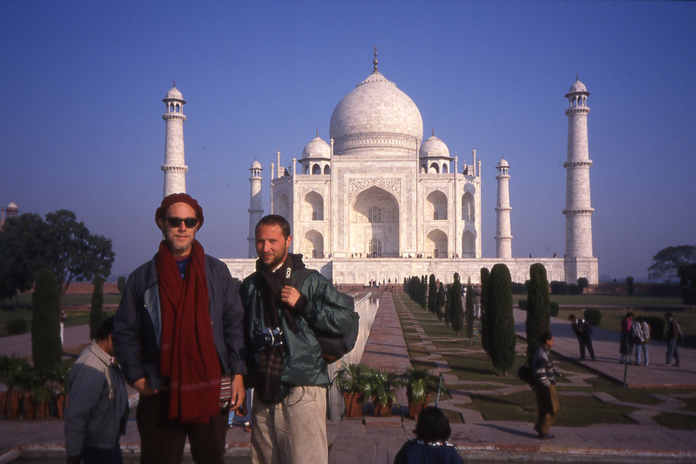 Randy and Austin Wrinkle at the Taj Mahal , Agra India. January 1998.