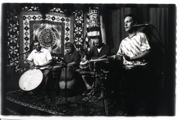 Hands On'Semble at Sangeet School of World Music, Los Angeles, CA, 1998.  (L-R: Andrew Grueschow, John Bergamo, Randy Gloss,  Austin Wrinkle).