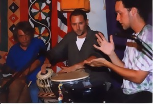 Hands On'Semble at Sangeet School of World Music, Los Angeles, CA, 1998.  (L-R: John Bergamo, Randy Gloss, Austin Wrinkle).