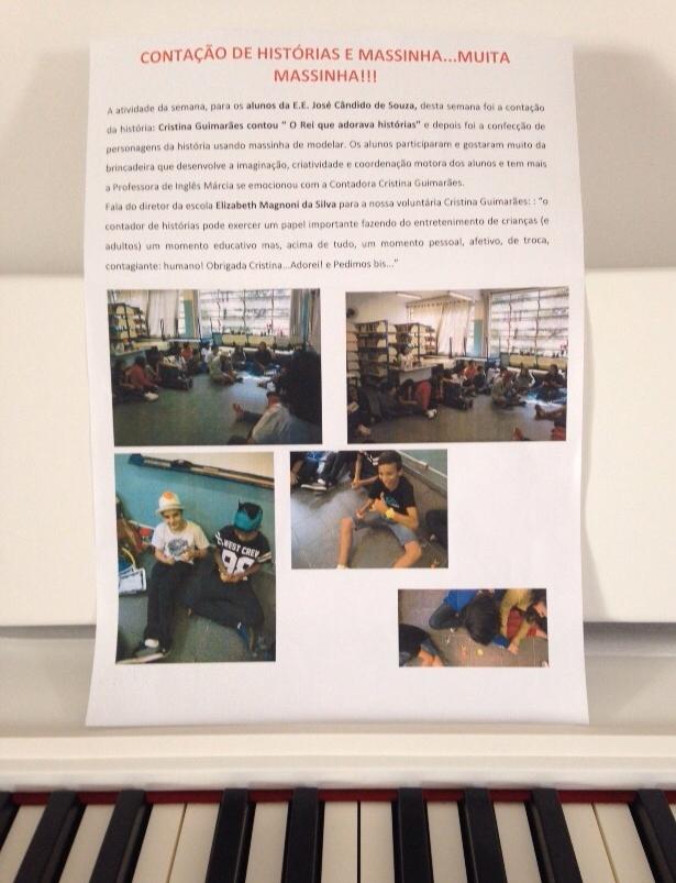 Carta que Cristina recebeu da diretora ao final da atividade exposta em sua casa