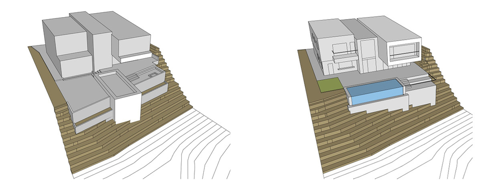 Massing takes shape (one of many iterations) and major site elements (pool, deck) added.