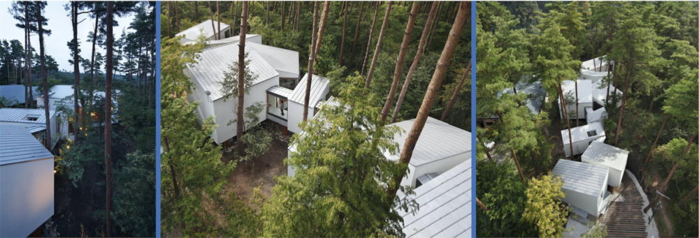 The Residence of Daisen by Keisuke Kawaguchi + K2 Design redefines what a typical house is, by pulling apart each room, and placing the series of inter-connected volumes in the middle of a forest. Aside from preserving the natural landscape, each room becomes surrounded by the forest.