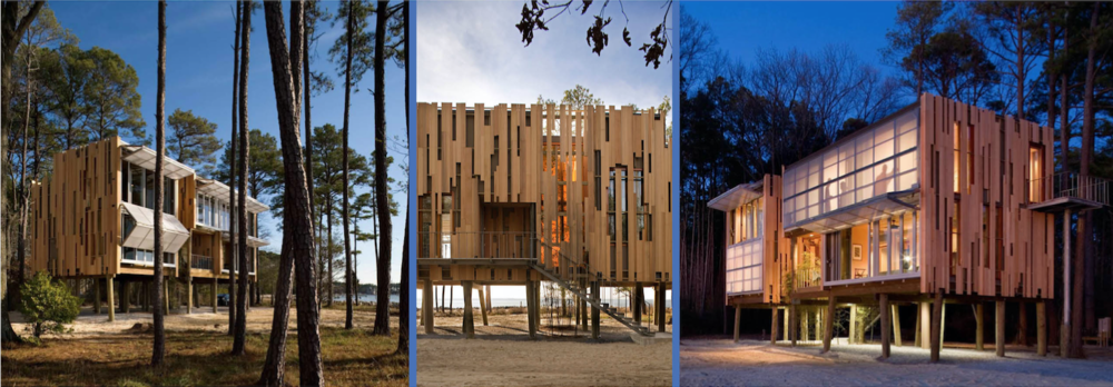 The Loblolly House by Kieran Timberlake features an exterior wood screen system, with planks arranged in random patterns to reflect the gaps of light between trees in the forest behind the building; on the front the house opens up completely to the view of a lake. The structure is lifted off the ground, sitting angled pilotis that mimic the tree trunks around the building.